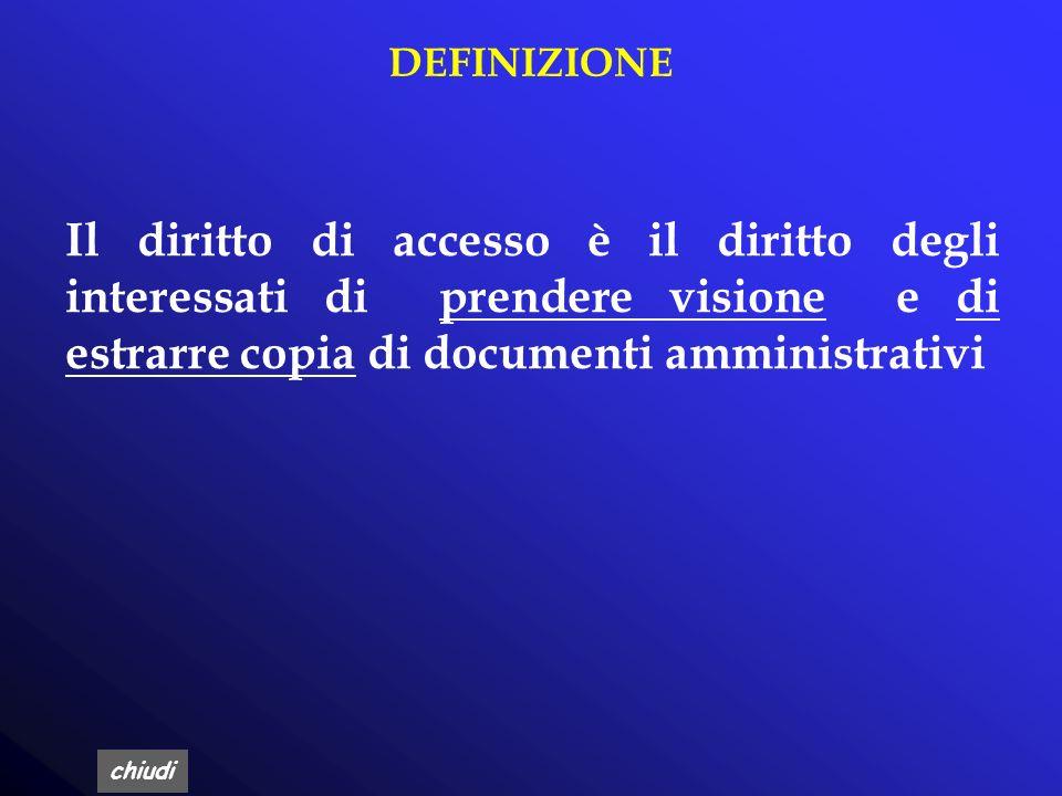 DEFINIZIONE Il diritto di accesso è il diritto degli interessati di prendere visione e di estrarre copia di documenti amministrativi.