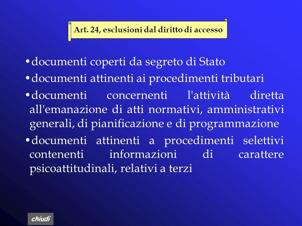 Art. 24, esclusioni dal diritto di accesso
