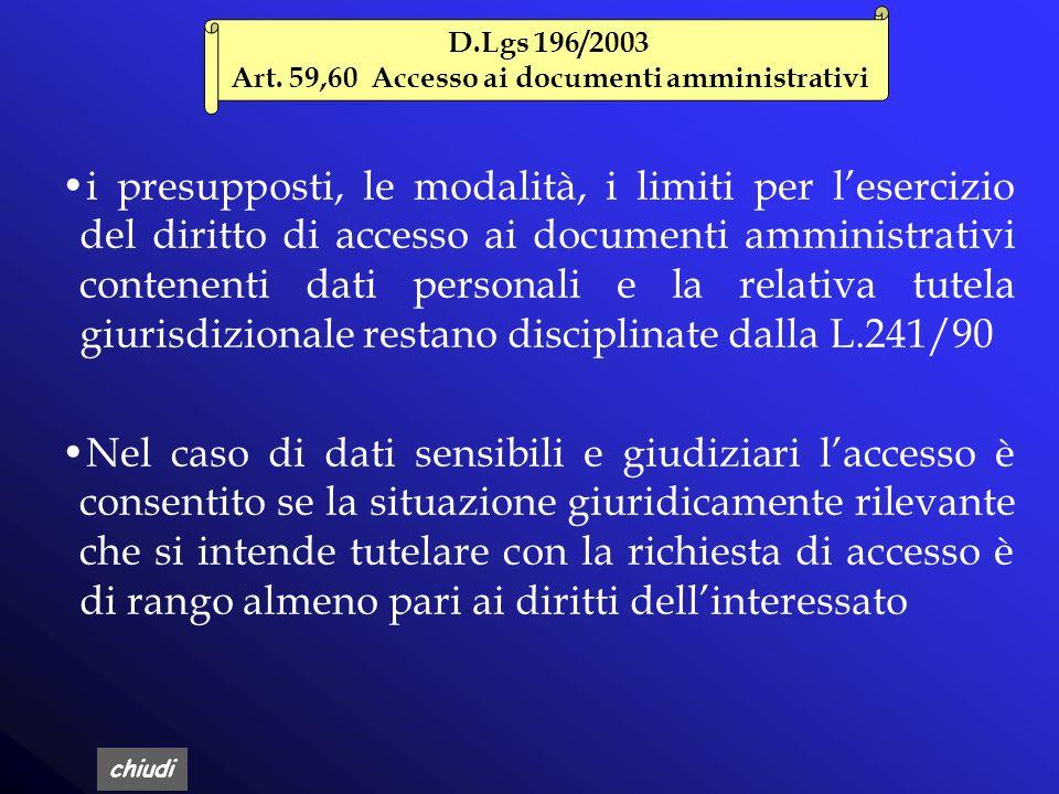 Art. 59,60 Accesso ai documenti amministrativi