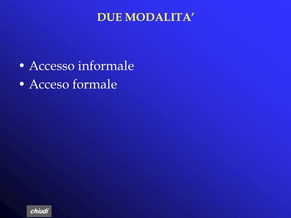 DUE MODALITA' Accesso informale Acceso formale