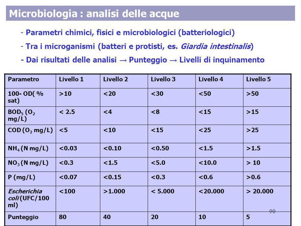 Microbiologia : analisi delle acque