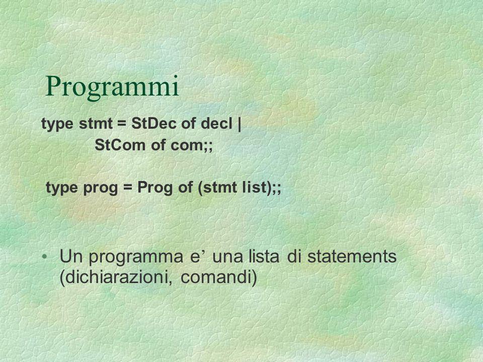 Programmi type stmt = StDec of decl | StCom of com;; type prog = Prog of (stmt list);;