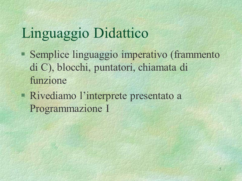Linguaggio Didattico Semplice linguaggio imperativo (frammento di C), blocchi, puntatori, chiamata di funzione.