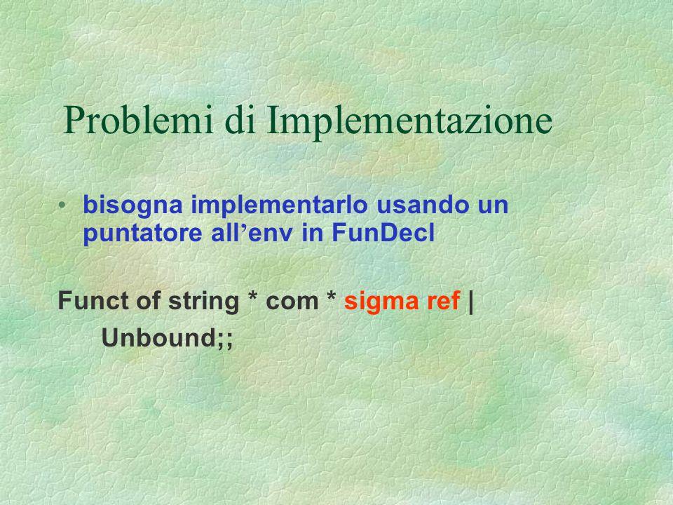 Problemi di Implementazione
