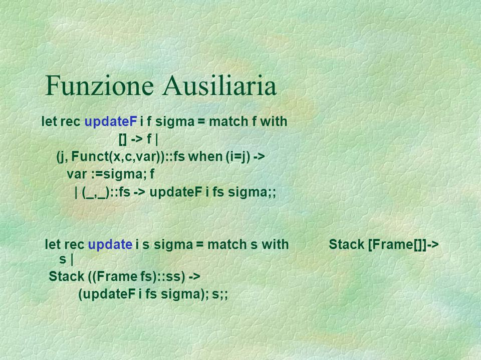 Funzione Ausiliaria let rec updateF i f sigma = match f with