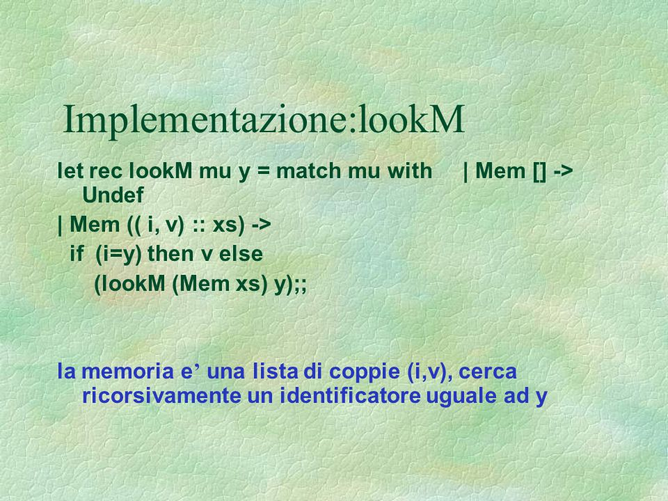 Implementazione:lookM