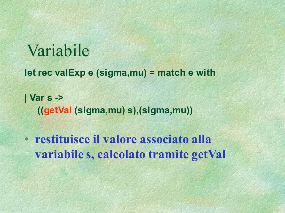 Variabile let rec valExp e (sigma,mu) = match e with. | Var s -> ((getVal (sigma,mu) s),(sigma,mu))