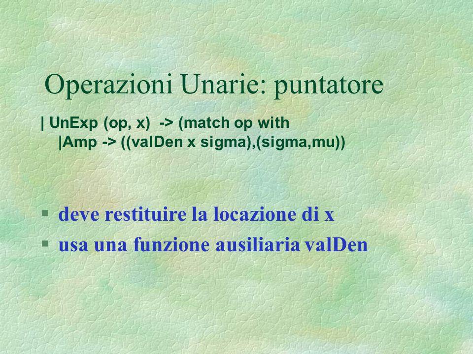 Operazioni Unarie: puntatore