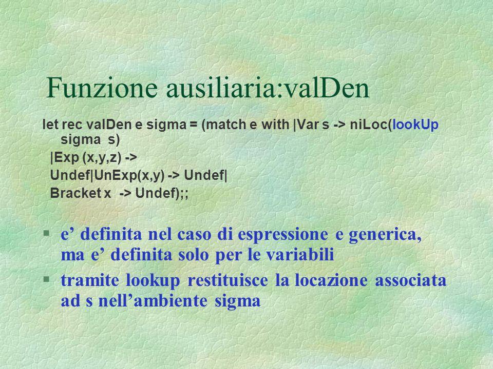 Funzione ausiliaria:valDen