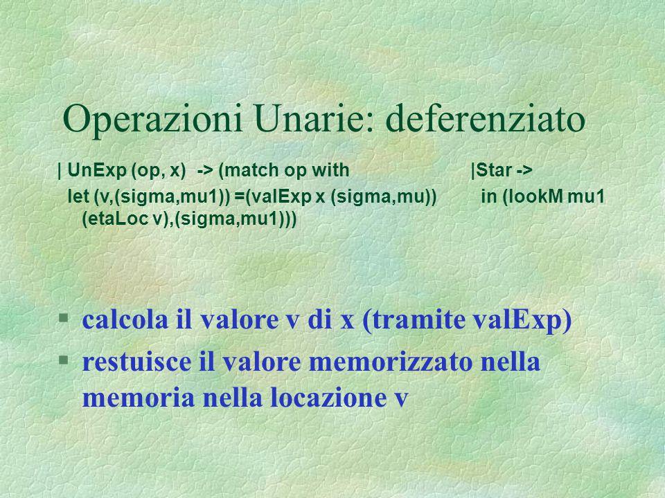 Operazioni Unarie: deferenziato