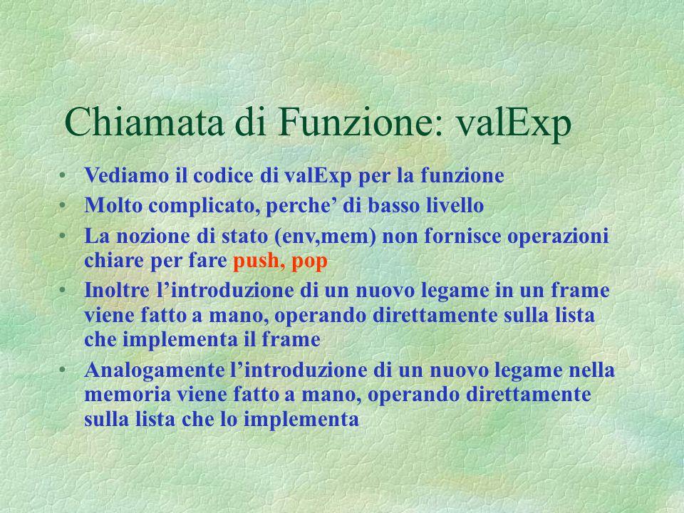 Chiamata di Funzione: valExp