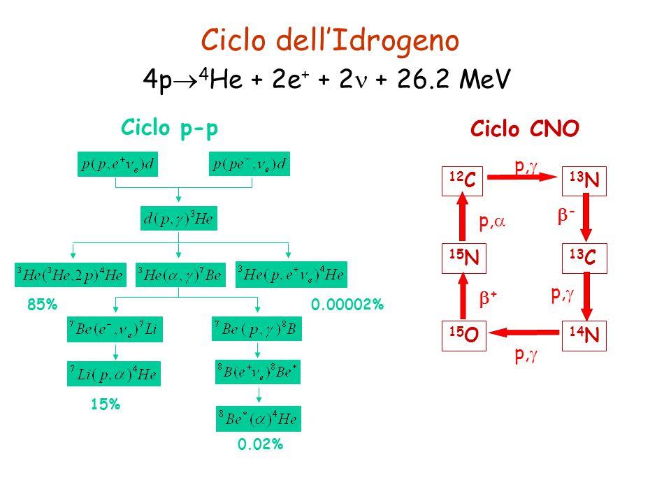 Ciclo dell'Idrogeno 4p4He + 2e+ + 2 + 26.2 MeV Ciclo p-p Ciclo CNO