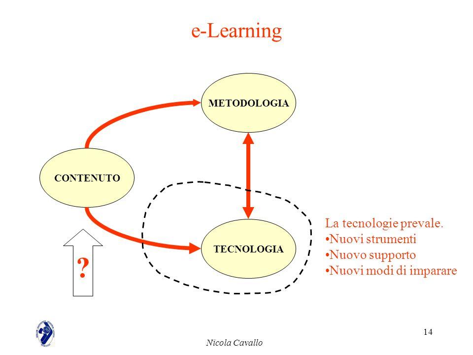 e-Learning La tecnologie prevale. Nuovi strumenti Nuovo supporto