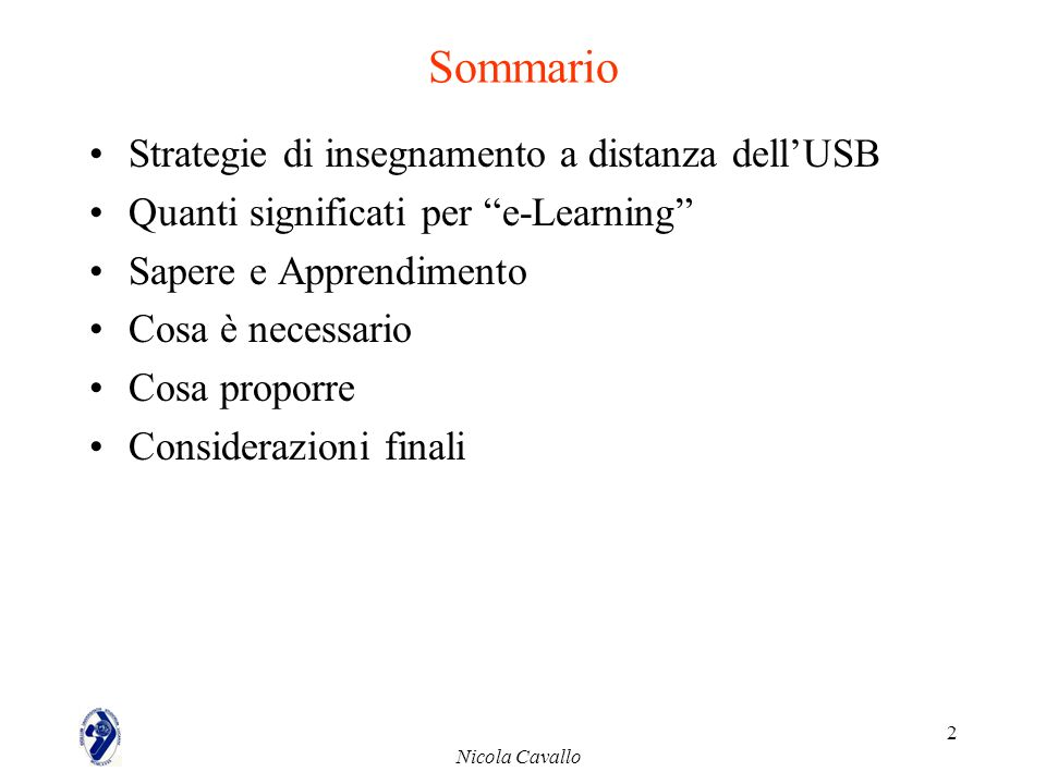 Sommario Strategie di insegnamento a distanza dell'USB