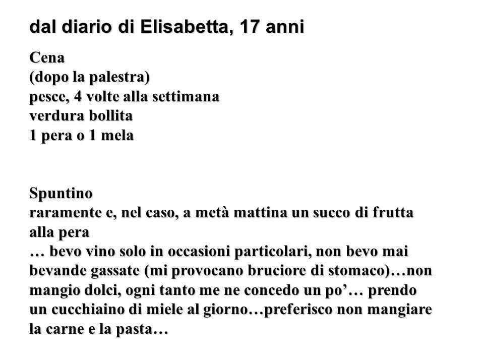 dal diario di Elisabetta, 17 anni