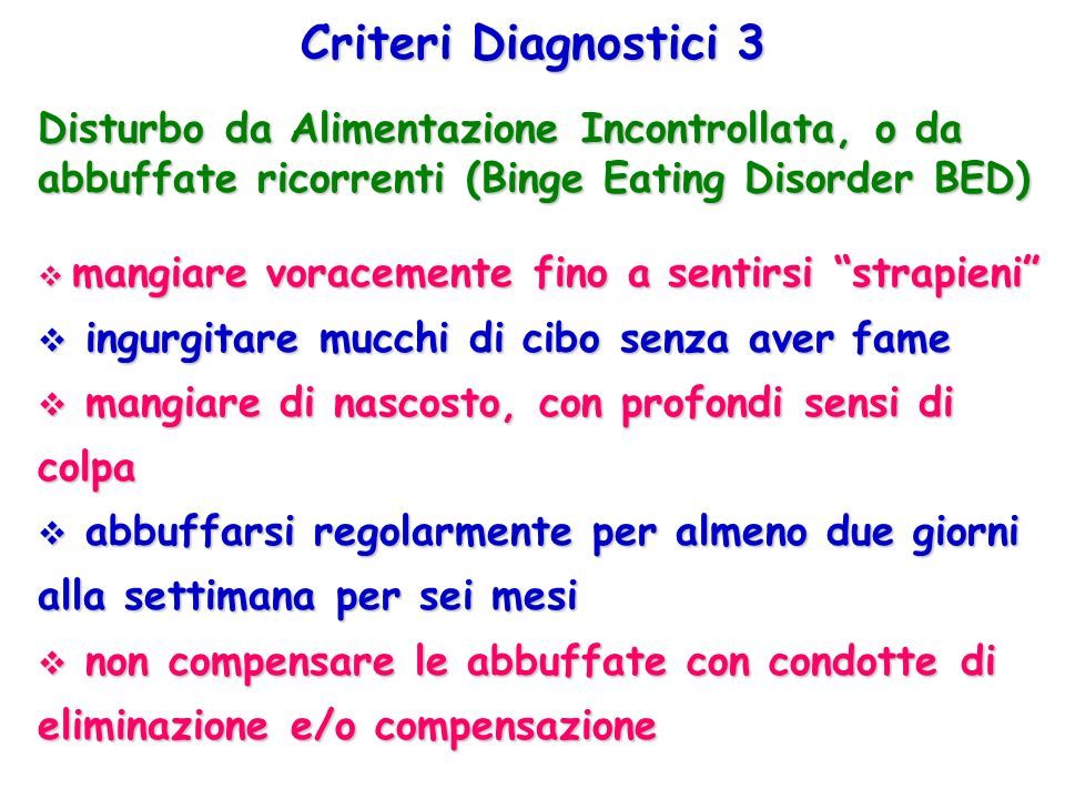 Criteri Diagnostici 3 Disturbo da Alimentazione Incontrollata, o da abbuffate ricorrenti (Binge Eating Disorder BED)