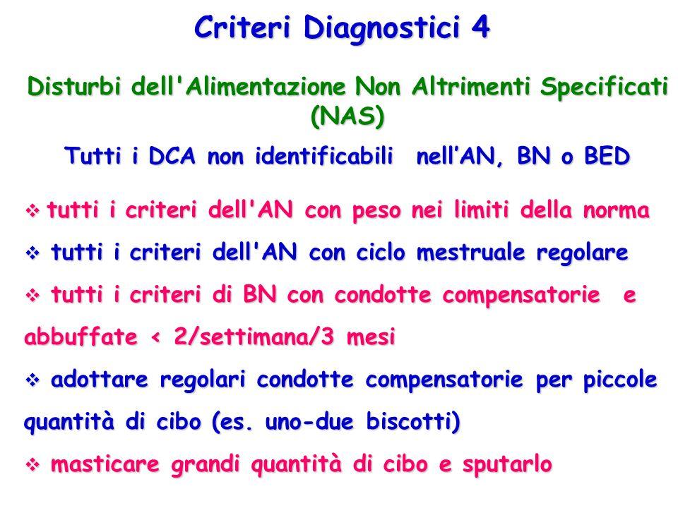 Criteri Diagnostici 4 Disturbi dell Alimentazione Non Altrimenti Specificati (NAS) Tutti i DCA non identificabili nell'AN, BN o BED.