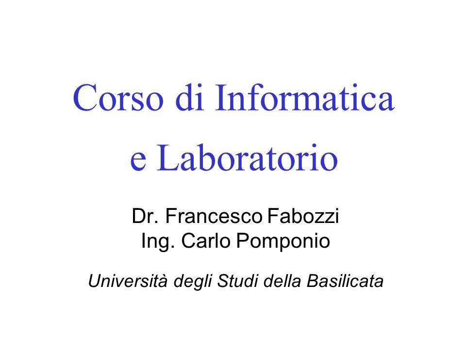 Corso di Informatica e Laboratorio
