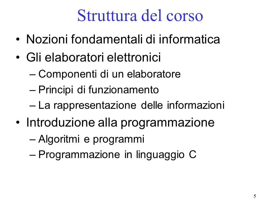 Struttura del corso Nozioni fondamentali di informatica
