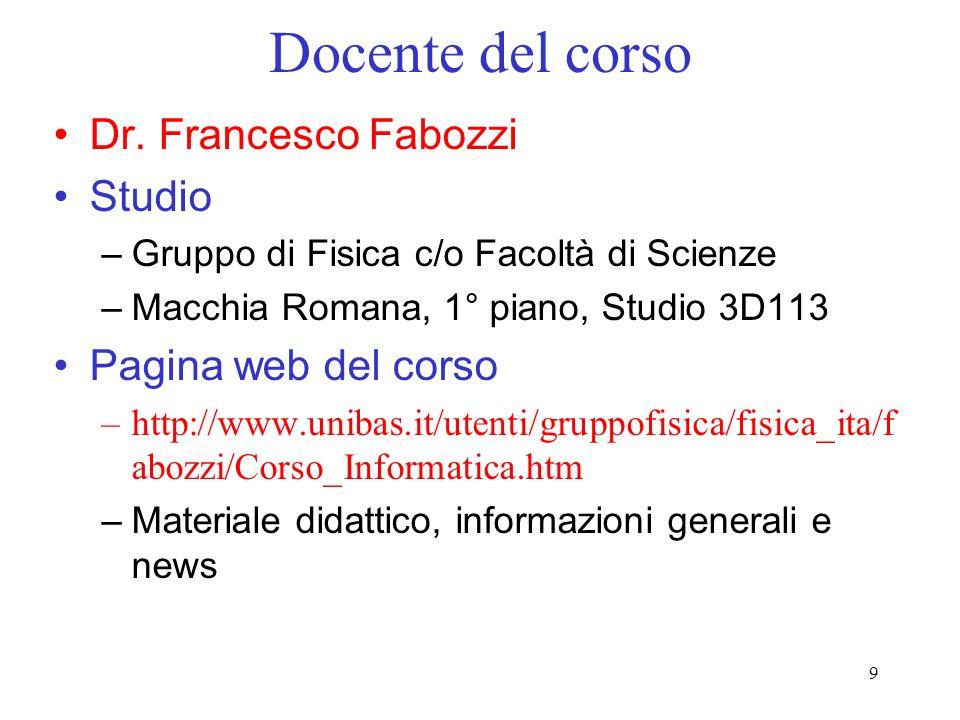 Docente del corso Dr. Francesco Fabozzi Studio Pagina web del corso