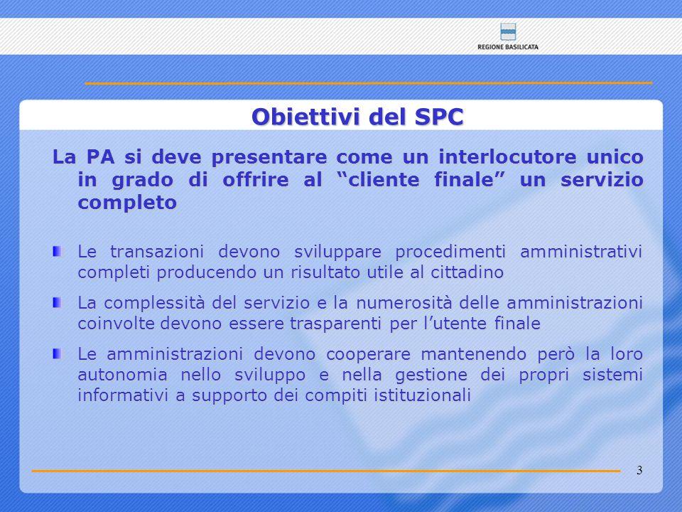 Obiettivi del SPC La PA si deve presentare come un interlocutore unico in grado di offrire al cliente finale un servizio completo.