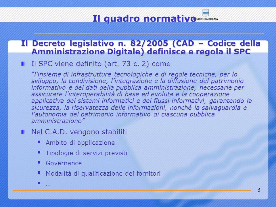 Il quadro normativo Il Decreto legislativo n. 82/2005 (CAD – Codice della Amministrazione Digitale) definisce e regola il SPC.