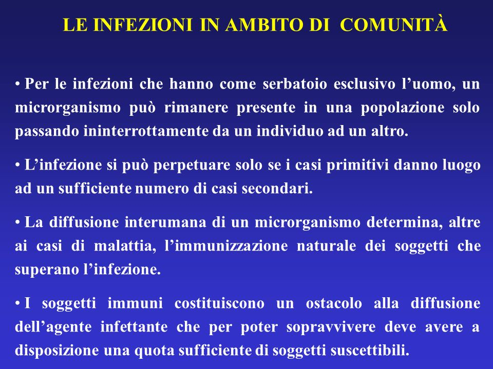 LE INFEZIONI IN AMBITO DI COMUNITÀ