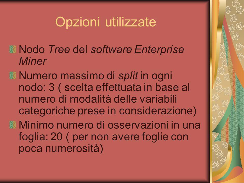 Opzioni utilizzate Nodo Tree del software Enterprise Miner