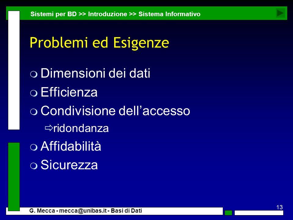 Problemi ed Esigenze Dimensioni dei dati Efficienza