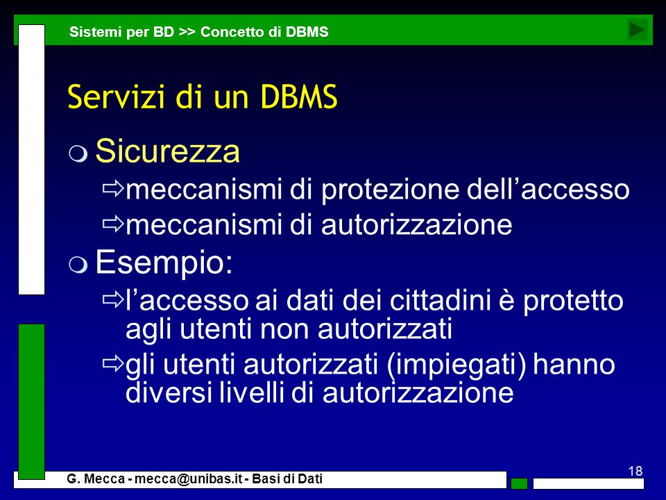 Servizi di un DBMS Sicurezza Esempio: