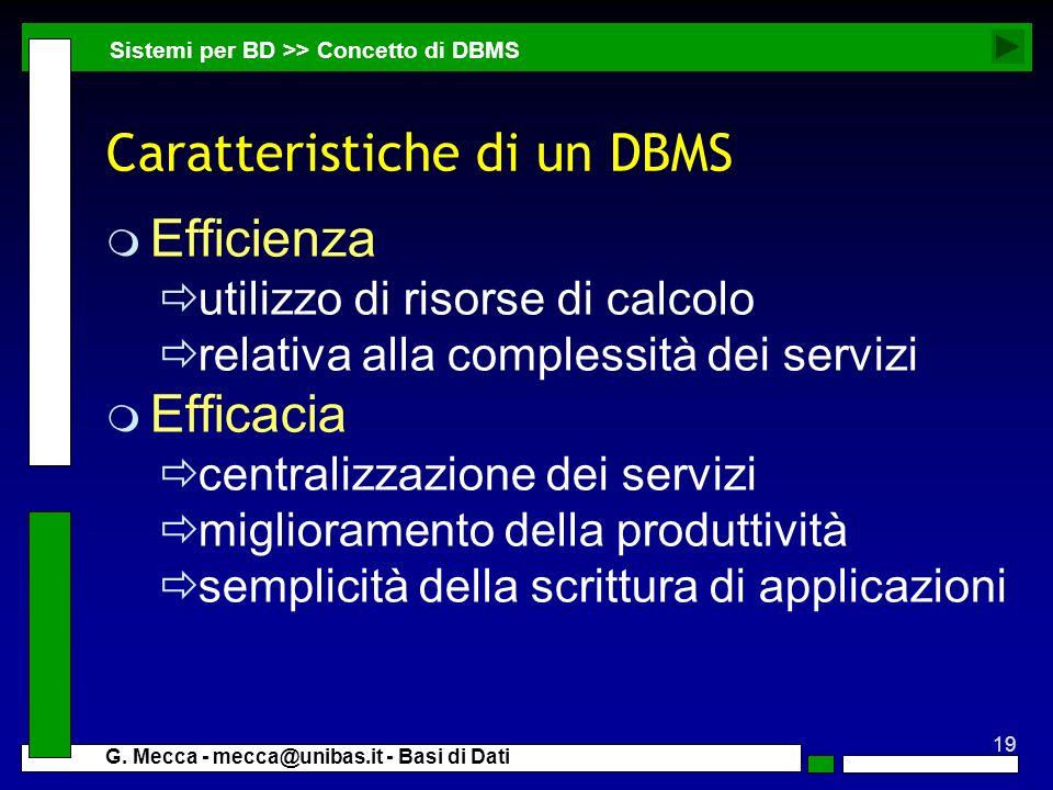 Caratteristiche di un DBMS