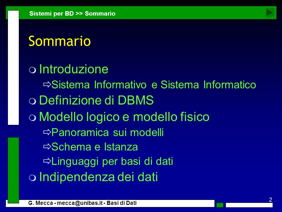 Sommario Introduzione Definizione di DBMS