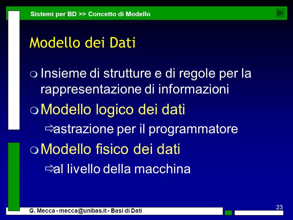 Modello logico dei dati Modello fisico dei dati