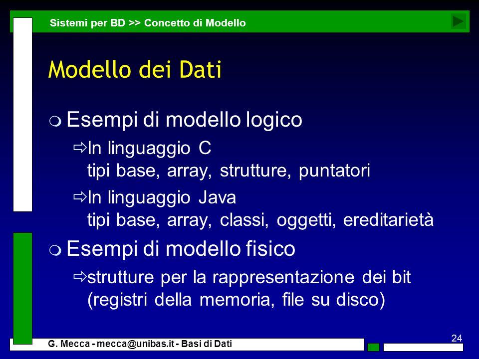 Modello dei Dati Esempi di modello logico Esempi di modello fisico