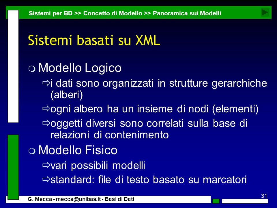 Sistemi basati su XML Modello Logico Modello Fisico