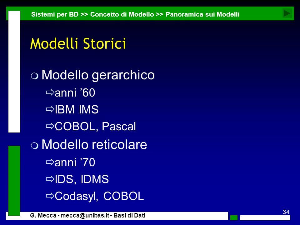 Modelli Storici Modello gerarchico Modello reticolare anni '60 IBM IMS