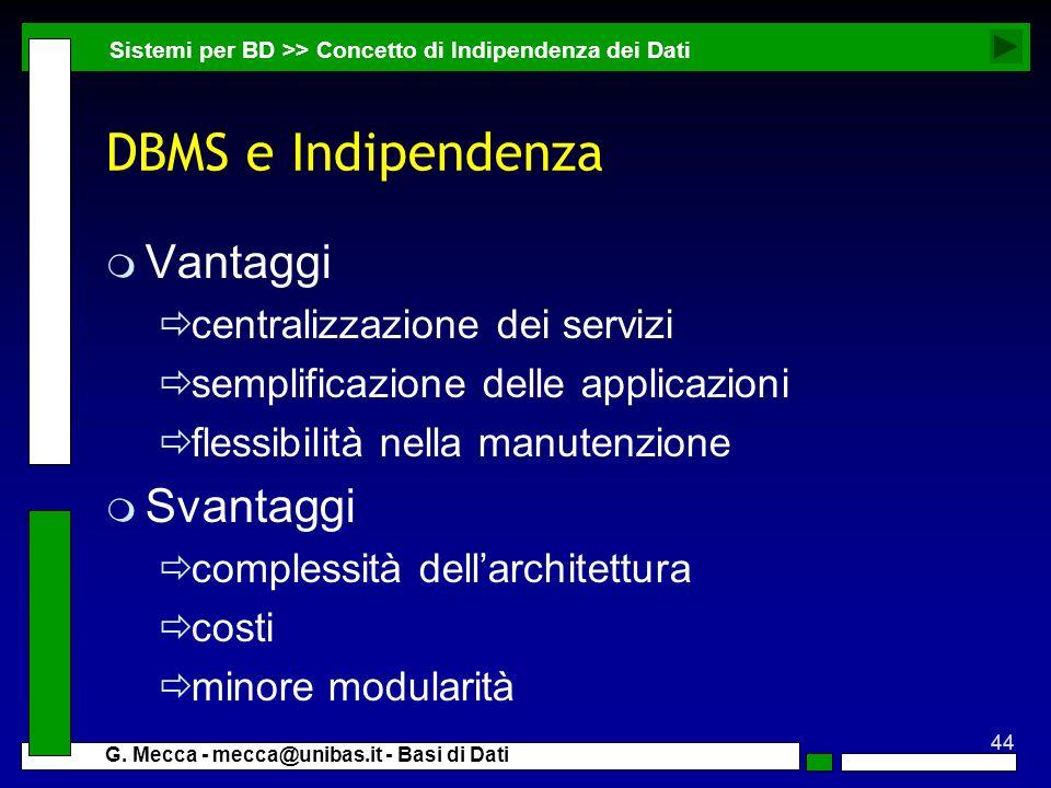 DBMS e Indipendenza Vantaggi Svantaggi centralizzazione dei servizi