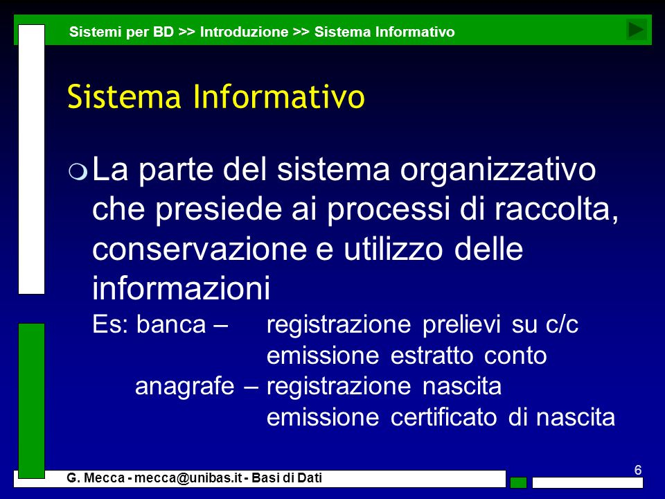 Sistemi per BD >> Introduzione >> Sistema Informativo