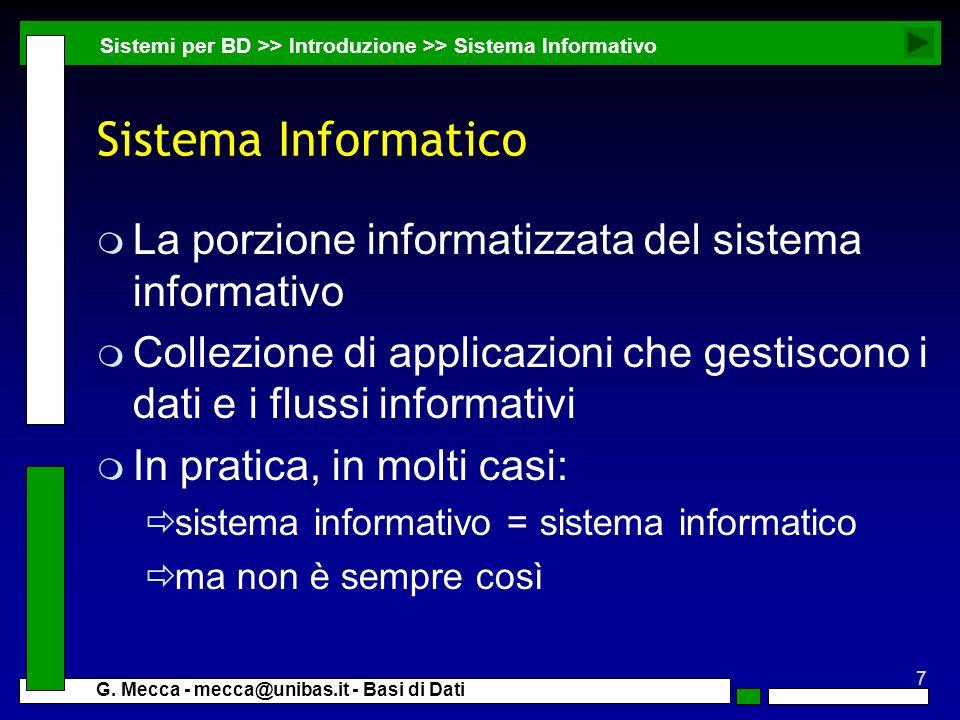 Sistema Informatico La porzione informatizzata del sistema informativo