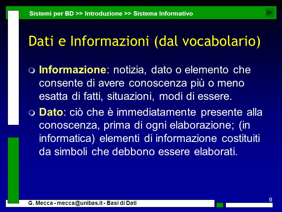 Dati e Informazioni (dal vocabolario)