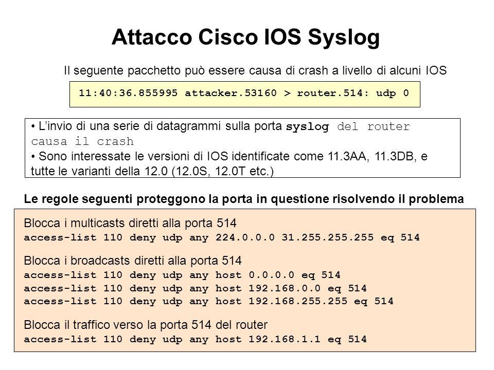 Attacco Cisco IOS Syslog