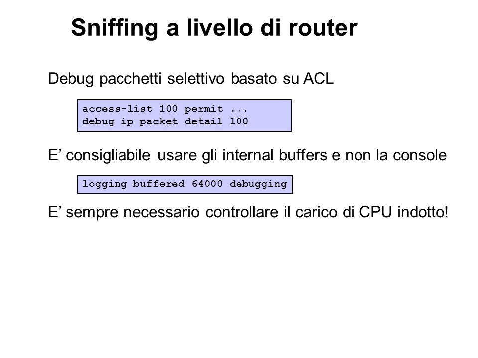 Sniffing a livello di router