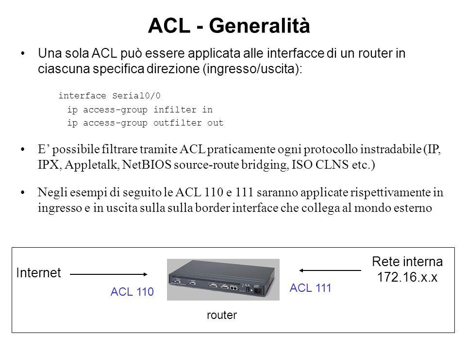 ACL - Generalità Una sola ACL può essere applicata alle interfacce di un router in ciascuna specifica direzione (ingresso/uscita):