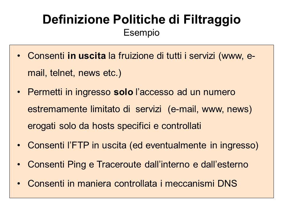 Definizione Politiche di Filtraggio