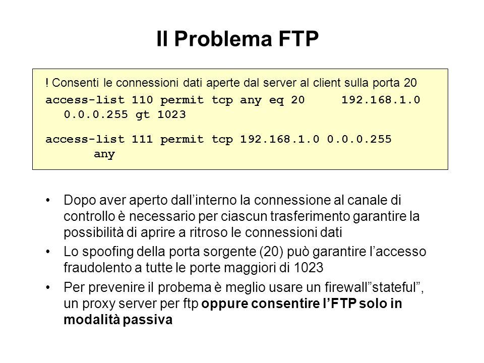 Il Problema FTP ! Consenti le connessioni dati aperte dal server al client sulla porta 20.