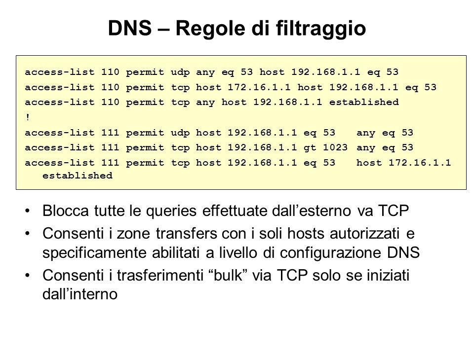 DNS – Regole di filtraggio