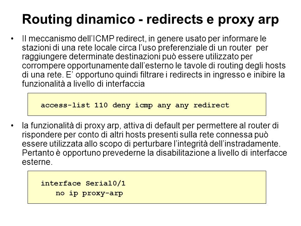 Routing dinamico - redirects e proxy arp