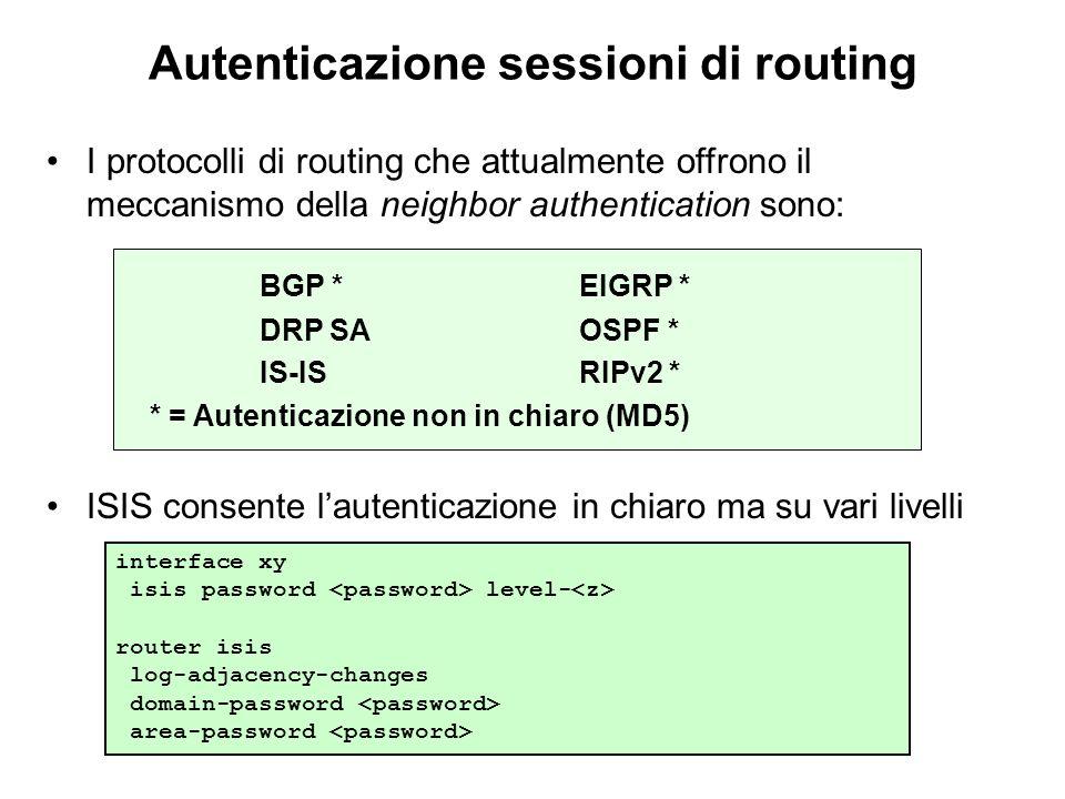 Autenticazione sessioni di routing