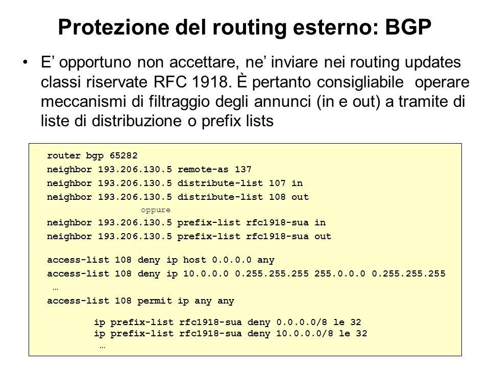 Protezione del routing esterno: BGP