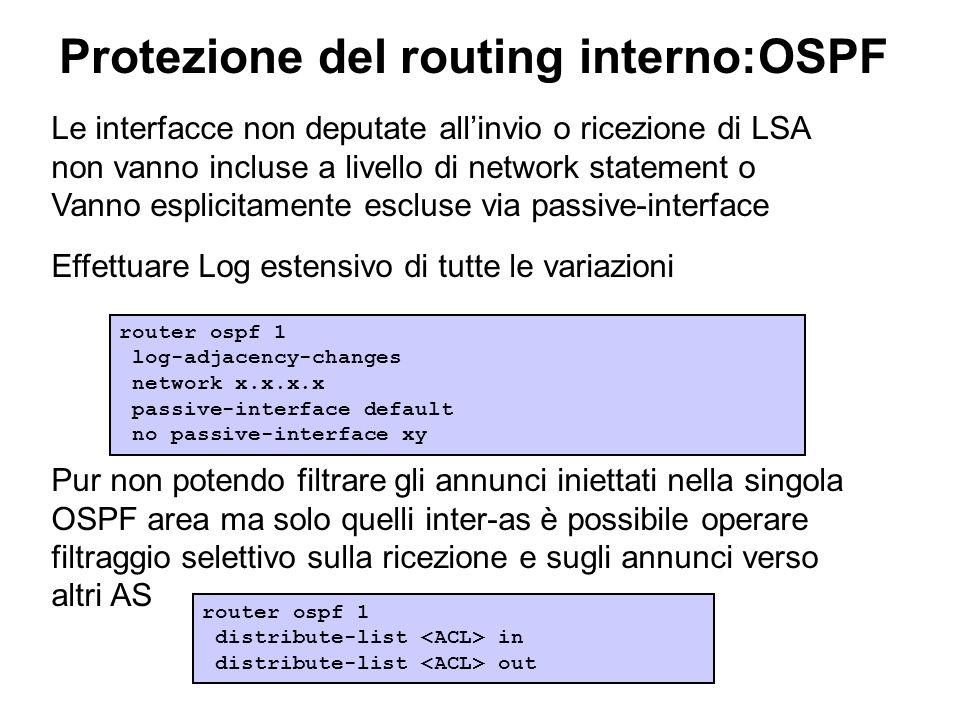 Protezione del routing interno:OSPF